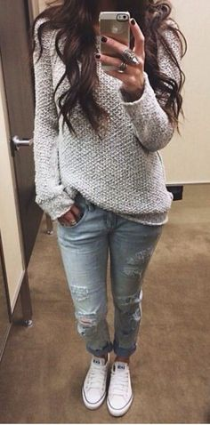 Comfy sweater, light jeans, and sneakers. Sounds like matches made in causal heaven!
