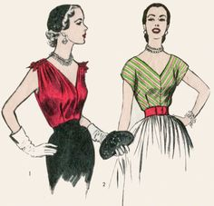 1950s 50s vintage sewing pattern cocktail blouse bustier fitted deep V neck