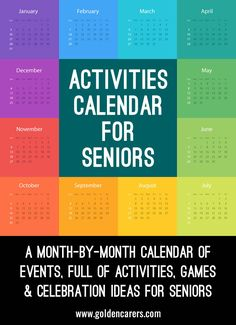 Activities Calendar for Activity Coordinators working in Senior Care A month-by-month calendar of events, full of activities, games &… Pinned by . Treatment plans and patient handouts for the OT working with physical disabilities and geriatrics. Activities For Dementia Patients, Alzheimers Activities, Elderly Activities, Activities For Adults, Work Activities, Therapy Activities, Activity Ideas, Spring Activities, Dementia Care