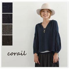 【corail コライユ】ヘリンボーン & ツイル スキッパー プルオーバー ブラウス(3062845)