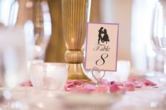 Arctic Club Hotel Seattle Ballroom Wedding, Table Décor, Disney Couples Silhouette Table Numbers, Tangled, Rapunzel