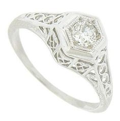 Estate 14K White Gold Diamond Engagement Ring. Repinned by one of WorthPoint's favorite pinners!