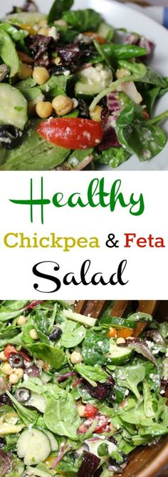 Healthy Greek Chickpea Feta Salad is packed full of nutritious ingredients and bright colors. This easy salad can be ready in a few minutes as a side or main dish!
