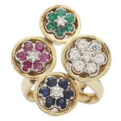 1960s Ruby Sapphire Emerald Diamond Gold Fun Ring | From a unique collection of vintage cocktail rings at https://www.1stdibs.com/jewelry/rings/cocktail-rings/