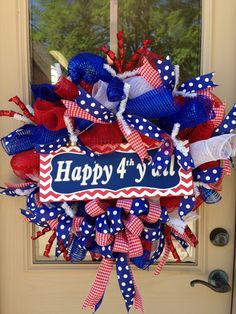 Happy 4th y'all! Patriotic wreath From Southern and Sassy Door Decor and More on Facebook!!!