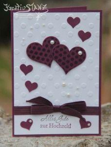 Hochzeitskarte Herzklopfen Stampin' Up! KreativStanz