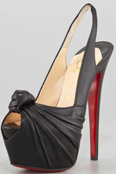Christian Louboutin Miss Benin Leather Knotted Platform Red Sole Slingback, Black - Neiman Marcus Hot High Heels, Platform High Heels, Sexy Heels, Stiletto Heels, Fab Shoes, Me Too Shoes, Black Shoes, Women's Shoes, Christian Louboutin Women