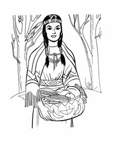 coloring pages indian women | ... Coloring Page for kids shows a native american woman bringing food