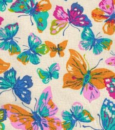 Novelty Cotton Fabric-Multi Butterflies
