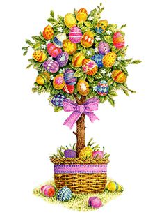 Aside from traditional Easter egg hunting, plan some parlor games and prepare small prizes. Easter Tree, Easter Eggs, Easter Bunny Pictures, Images Wallpaper, Decoupage, Easter Illustration, Easter Wallpaper, Egg Tree, Easter Greeting Cards