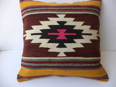 """KİLİM PİLLOW,20""""X20"""" inch Awesome Pattern Turkish Kilim Rug Pillow,Home Decor Throw Pillow Cover,Pink Pillow,Vintage Pillow."""