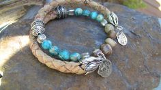Woven Leather Wrap Bracelet With Chrysocolla Stones, Jasper and Fine Silver and Sterling Embellishments, Boho Bracelet by woodsandwillow on Etsy