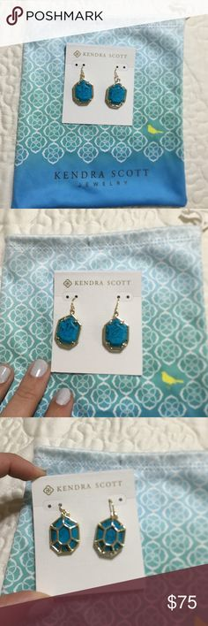 Kendra Scott turquoise/gold earrings Turquoise & gold dangle drop earrings! Never worn NWOT! Kendra Scott Jewelry Earrings