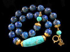 Lapis Lazuli and Turquoise ball necklace, tribal ethnic jewelry by PinkOwlJewelry