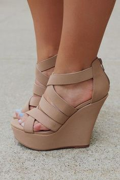 Strappy Zipper Back Wedge FINDER-349, $34.80, UOIOnline.com: Women's Clothing Boutique #weddingshoes
