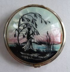 Sterling Silver Figural Enamel Guilloche Compact.