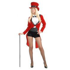 Adult Womens Lady Red Tuxedo Tailcoat Circus Sweetie Ringmaster Costumes | eBay