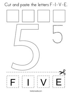 Free cut and paste and trace the number 5 letters f i v e printable worksheet Preschool Color Activities, Activities For 5 Year Olds, Numbers Preschool, Learning Numbers, Learning Letters, Preschool Worksheets, Preschool Activities, Kindergarten Learning, Learning Time