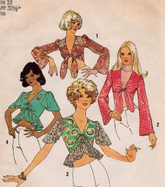 Vintage 70s Retro Misses Midriff Shortie Summer Top Blouse Sewing Pattern Bust 32.5 Bell Sleeves Contrasting Front Yoke Tie Front Closure by SuzisCornerBoutique on Etsy