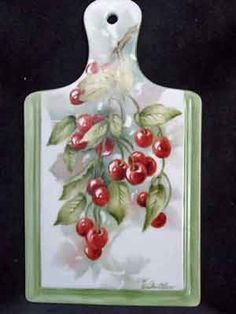 Porcelain cheese board painted with Cherries by porcelain artist and teacher, Charlene Whitler