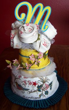 bridal shower dish towel cake- monogram using Cricut
