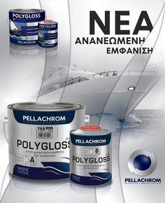 Η Νέα εμφάνιση του POLYGLOSS, του κορυφαίου ναυτιλιακού χρώματος 2 συστατικών, είναι εδώ!!!  Μετά την εμφάνιση των συσκευασιών με το νέο λογότυπο της εταιρίας μας, σας παρουσιάζουμε την αλλαγή της εμφάνισης των προϊόντων που εκσυγχρονίζουμε όπως κάνουμε και σε όλους τους τομείς της PELLACHROM  #dgkpellachrom #pellachrom #colors #paints #boat #sailboat #sailing #polygloss #premiumquality #polyurethane #durable #protection #weatherresistant #shine #brightness #resistance #yellowing It Is Finished, Products, Decor, Rome, Decoration, Decorating, Gadget, Deco