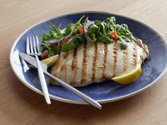 Grilled Chicken Paillard with Lemon and Black Pepper and Arugula-Tomato Salad #myplate #protein #veggies