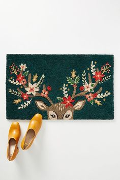 Anthropologie Decorated Deer Doormat - Anthropologie Christmas Decor - Anthropologie Home Decor Style Isle Of Man, Anthropologie Christmas, Build Your House, Art Deco Home, Deer Antlers, Merry And Bright, Jingle Bells, Christmas Inspiration, Cool Artwork