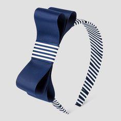Girls' Flat Ribbon Bow Headband Cat & Jack - Navy (Blue)