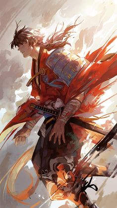 Samurai version of the adult bam [Tower of God] maybe. Art Anime, Anime Kunst, Manga Art, Fantasy Male, Comic Kunst, Comic Art, Art And Illustration, Ronin Samurai, Mutsunokami Yoshiyuki
