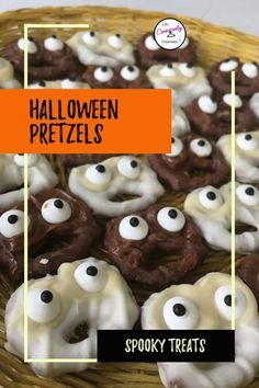 Looking for some scary good treats for your Halloween party? Make these super easy Halloween pretzels. 3 designs, 4 ingredients : ghosts, goblins, and ogres! Halloween recipes | pretzel recipes | chocolate covered pretzels | Halloween party food | Halloween pretzel treats