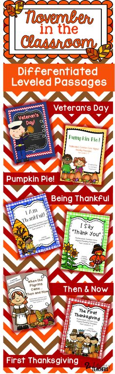 Thanksgiving, Veteran's Day, being thankful and then and now are all top topics in November. These differentiated passages allow you to support your themes while allowing ALL students to access the content. Leveled A - I.