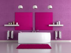 Surprising Interior Design in Shining Orchid: Surprising Interior Design In Shining Orchid With Small White Chandelier And White Wooden Shelf And White Modern Bathtub And Purple Rug Modern