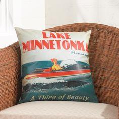 Vintage postcard art indoor/outdoor pillow