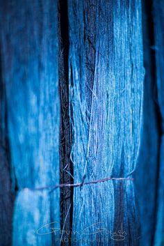 Yarn dyed with indigo hanging from a weaver's house, Indigo Dyeing Factory, Sakhon Nokhon, Thailand