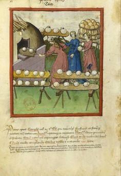 llumination from the 14th cent Tacuinum Sanitatis BNF Latin 9333. Female bakers.