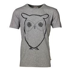 Weiches T-Shirt von Knowledge Cotton Apparel mit Rundhalsausschnitt und Eulenaufdruck.