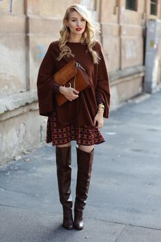 Ohh Couture (Leonie) in Zara Over The Knee Boot Outfit, Over Boots, Dress With Boots, Fall Winter Outfits, Autumn Winter Fashion, Ohh Couture, High Leather Boots, High Boots, Long Boots