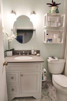 Cool 99 Modern Farmhouse Bathroom Vanity Design Ideas. More at http://www.99homy.com/2018/03/13/99-modern-farmhouse-bathroom-vanity-design-ideas/