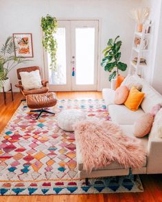 Home Decor Color lover. Inspired by traditional Moroccan patterns, our Magic Potion Moroccan Shag Rug blends classic style with soft, plush comfort. Add beautiful Moroccan flare and colorful texture to your home with this super soft rug. Decoration Inspiration, Room Inspiration, Decor Ideas, Decorating Ideas, Interior Decorating, Diy Ideas, Boho Living Room, Home And Living, Bright Living Room Decor