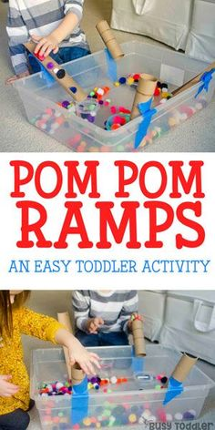 Pom Pom Ramps Toddler Activity 2019 Make some Pom-Pom ramps this fall! A great STEM activity for toddlers and preschool kids during a rainy day STEM centers! The post Pom Pom Ramps Toddler Activity 2019 appeared first on Toddlers ideas. Indoor Activities For Toddlers, Toddler Learning Activities, Sensory Activities, Infant Activities, Toddler Preschool, Toddler Fun, Play Activity, Activity Centers, Activities For Rainy Days