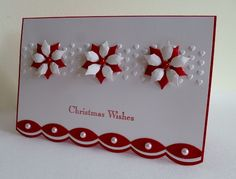 CAS249 (Red & White cards) Red Garland by sistersandie ~ Stamps: SU A Christmas Carol ~ Paper: SU Whisper White, Real Red ~ Paper Size: 6 x 4 ~ Ink: SU Real Red ~ Accessories: Big Shot, SB Poinsettia die, SU Scalloped edgelit, SU Adorning Accents EF, Red and White Pearls, Pinflair Glue ~ Techniques: Stamping, die cutting