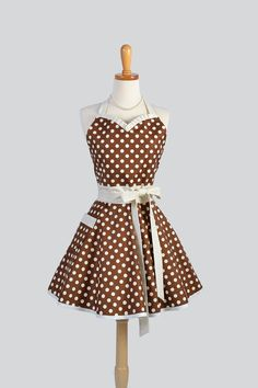 Sweetheart Retro Apron , Sexy Womens Apron in Ivory and Brown Dot Cute Full Kitchen Apron