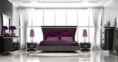 Dormitorio de estilo clásico contemporaneo de diseño del fabricante Franco Furniture inspirado en el arte imperial japonés. Muebles de primera calidad con diseños únicos y exclusivos, personalizables a gusto del cliente y disponibles en diferentes medidas y acabados.