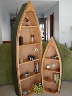 Six-Foot Handcrafted Wood Row Boat Bookshelf By Poppa's Boats