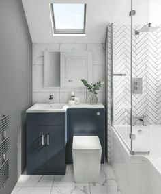 33 Fabulous Small Bathroom Design Ideas - Not all people can afford huge, luxurious baths that resemble spas with jacuzzi and saunas, bathtubs and fancy showers, separate his and her vanities . Small Bathroom Interior, Small Bathroom Layout, Modern Bathroom, Small Bathroom Suites, Small Bathroom With Bath, Toilet And Bathroom Design, Small Bathroom Furniture, Small Shower Room, Bathroom Colours