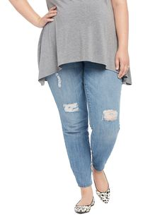 Motherhood Plus Size Secret Fit Belly Destructed Maternity Jeans ** Find out more details by clicking the image : Plus size maternity