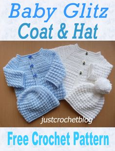 Free crochet pattern for a baby gltiz coat and hat. Available on Free crochet pattern for a baby gltiz coat and hat. Available on ShaRon Clanton Baby wea Crochet Baby Cardigan Free Pattern, Crochet Baby Jacket, Newborn Crochet Patterns, Baby Sweater Patterns, Baby Clothes Patterns, Free Crochet, Crochet Hooks, Hat Crochet, Baby Boy Knitting Patterns Free