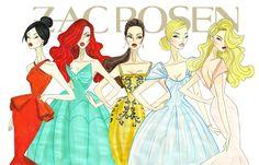 Disney Princesses Mulan, Ariel, Belle, Cinderella, and Aurora in Zac Posen Gowns - by Armand Mehidri