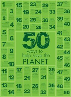 50 ways to save the planet - maybe have the kids brainstorm their own ideas and put them together in a bulletin board display, poster, or presentation. Good for end of the year wrap-up projects. College Bulletin Boards, Bulletin Board Display, Save Planet Earth, Save The Planet, Teaching Kids, Teaching Resources, Tumblr, Finanz App, Green School